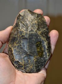 A very nice English Paleolithic Cordate flint hand axe, old collection piece. (P2) SOLD